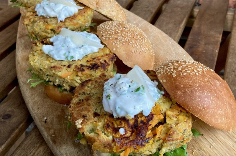 Carrot Ginger Chickpea Burgers