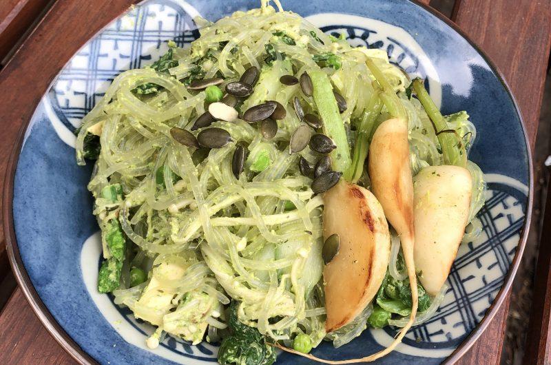Sweet Potato Noodles with Garlic Scape Pumpkin Seed Pesto